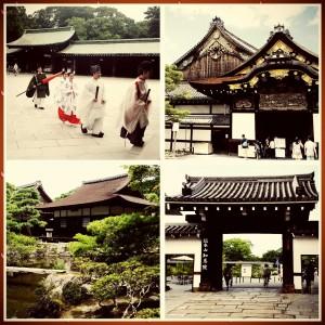 Searah jarum jam kiri dari kiri atas: Kuil Meiji (Tokyo), Nijo Castle (Kyoto), Geisha District Temple (Kyoto), dan Ginkakuji Temple (Kyoto)